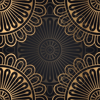 Design de fundo mandala sem costura padrão na cor preta e dourada