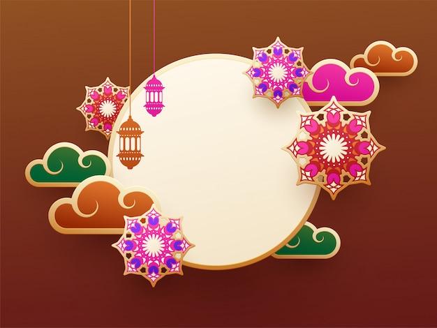 Design de fundo marrom decorado com elementos islâmicos