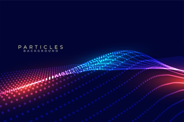 Design de fundo ondulado futurista de tecnologia de partículas digitais
