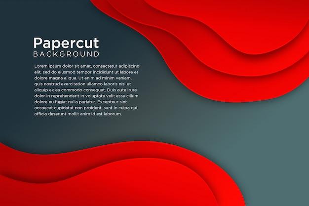 Design de fundo preto vermelho moderno papercut