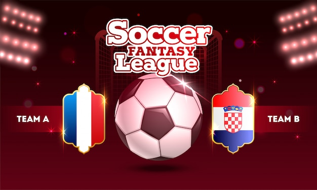Design de futebol fantasy league com bola de futebol e equipes