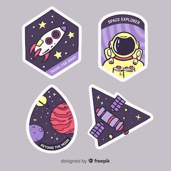 Design de galáxia com coleção de adesivos