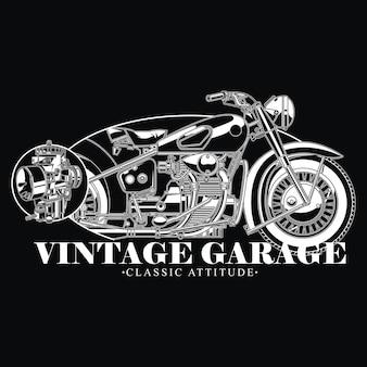 Design de garagem vintage para motociclistas de atitude clássica