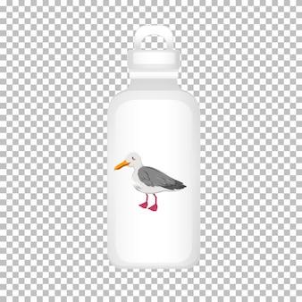 Design de garrafa de água com pombo