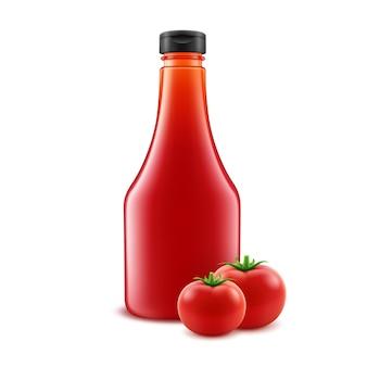 Design de garrafa de ketchup de tomate em branco