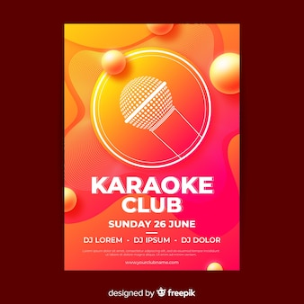 Design de gradiente de cartaz de festa de karaoke