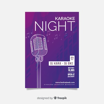 Design de gradiente de modelo de cartaz de karaoke