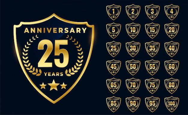 Design de grande coleção de logotipo de aniversário dourado premium