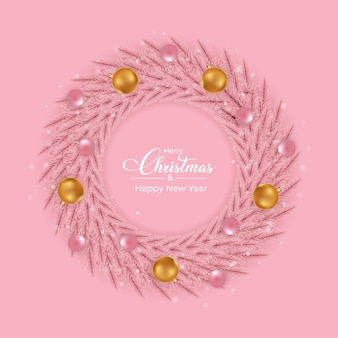 Design de grinalda rosa de natal com bolas de luz de decoração rosa e dourada. design de grinalda feminino rosa