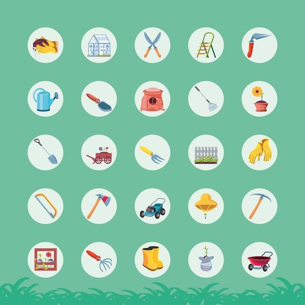 Design de grupo de ícones de estilo detalhado de jardim, planta de jardinagem e natureza