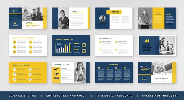 Design de guia de folheto de apresentação comercial ou modelo de slide ou controle deslizante de guia de vendas