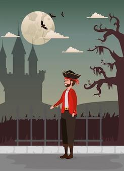Design de halloween com pirata e castelo