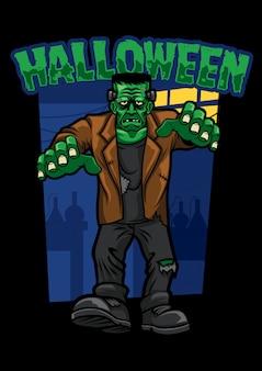 Design de halloween de andar morto