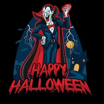 Design de halloween de drácula