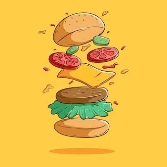 Design de hambúrguer de queijo fofo flutuante