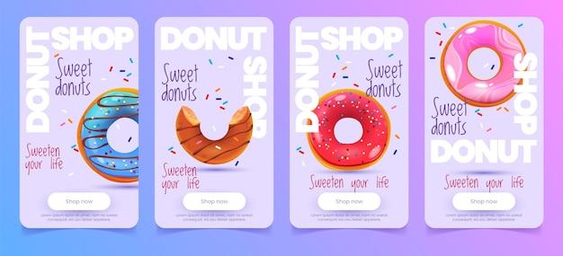 Design de histórias de donuts de desenhos animados