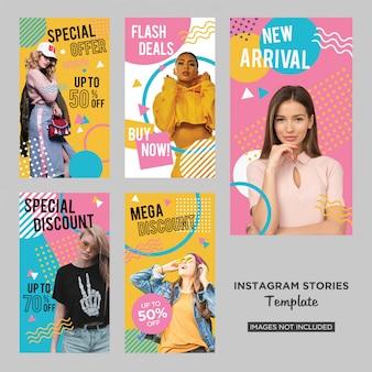 Design de histórias de mídia social de moda memphis