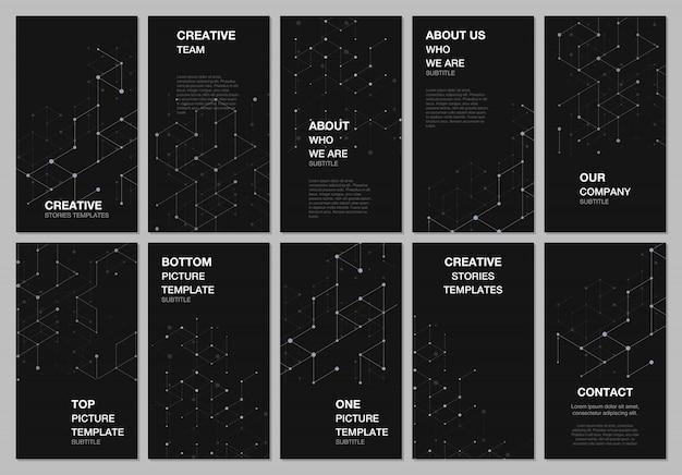 Design de histórias de redes sociais, estrutura de conexão molecular abstrata
