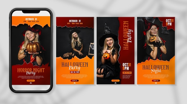 Design de histórias do instagram do festival de halloween