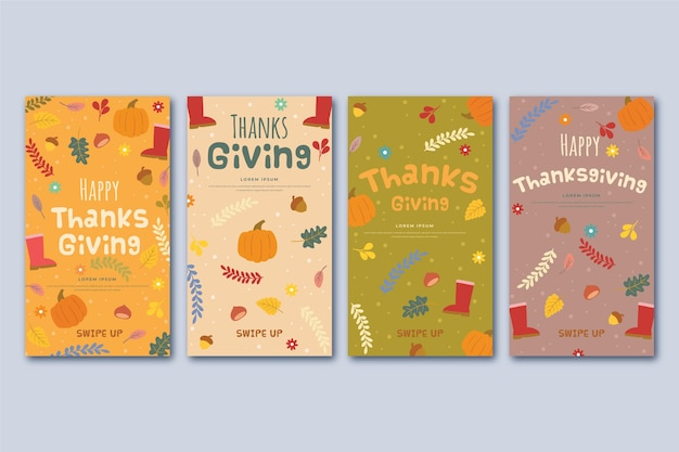 Design de histórias do instagram para o dia de ação de graças