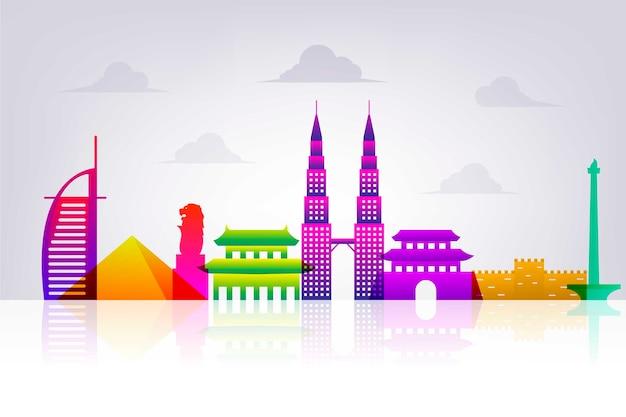Design de horizonte colorido marcos