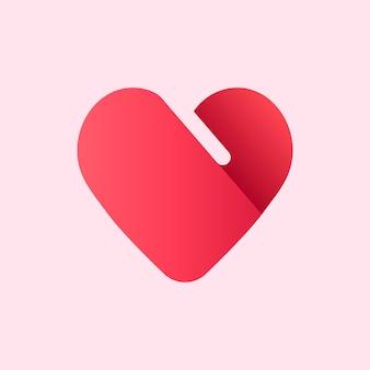 Design de ícone de forma de coração de logotipo vermelho