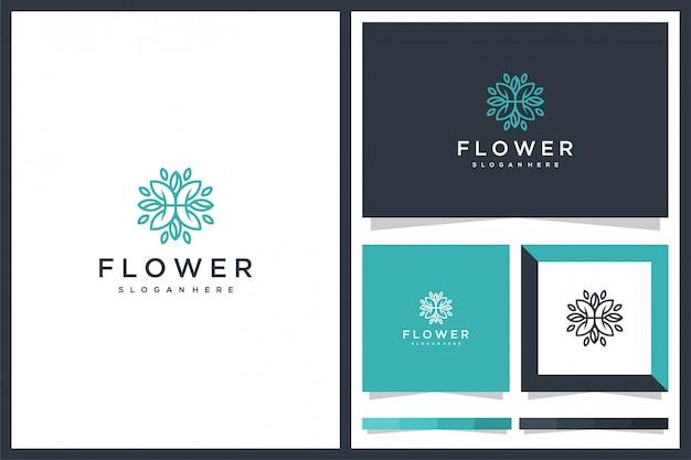 Design de ícone de logotipo de flor minimalis