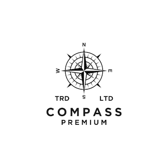 Design de ícone de logotipo preto de vetor de bússola premium