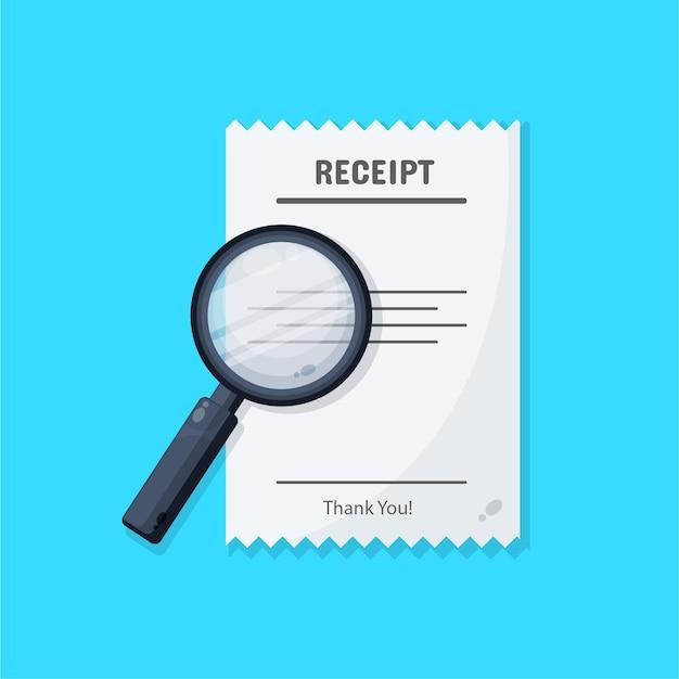 Design de ícone de recibo com lupa