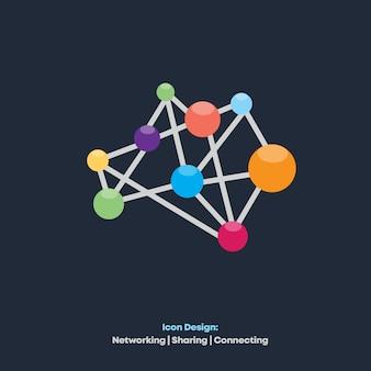 Design de ícone de rede e compartilhamento