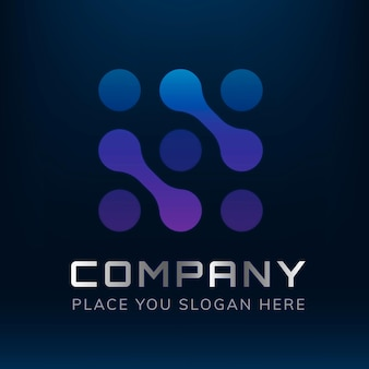 Design de ícone de slogan editável de gradiente molecular
