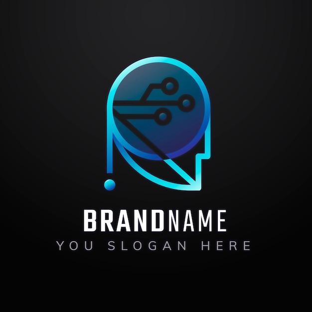 Design de ícone de slogan editável de robô gradiente