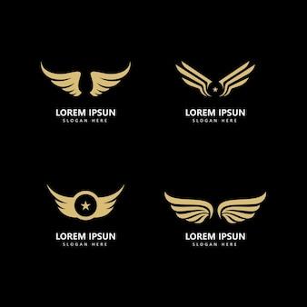 Design de ícone de vetor de modelo de logotipo de asa