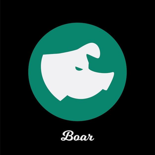 Design de ícone plano de javali, elemento de símbolo de logotipo