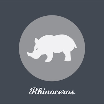 Design de ícone plano de rinoceronte, elemento de símbolo de logotipo