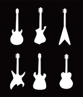 Design de ícones de estilo preto e branco de instrumentos de guitarra