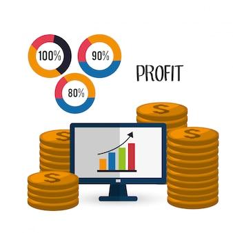 Design de ícones de lucro