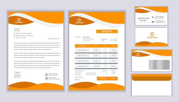 Design de identidade corporativa clássico papelaria negócios com modelo de papel timbrado, fatura e cartão de visita.