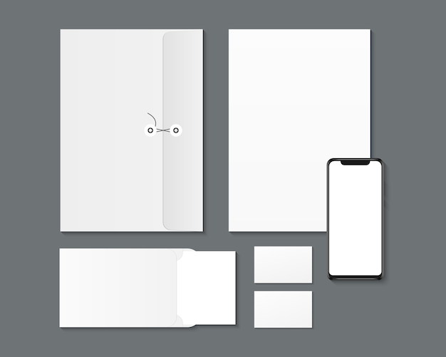Design de identidade corporativa da marca. smartphone em branco, papel, envelopes, maquete de cartões de visita.