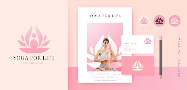 Design de identidade da marca do logotipo da flor de lótus para ioga