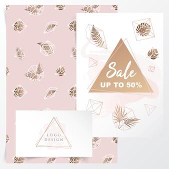 Design de identidade de marca feminina com padrão floral geométrico