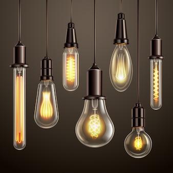 Design de iluminação moderno com estilo retro, vintage, olhando a filamento de incandescência suave edison ligt variedade de lâmpadas