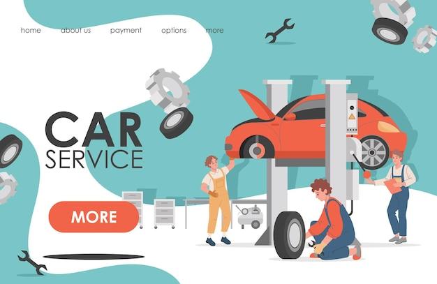 Design de ilustração da página de destino do serviço de carro