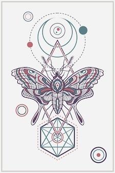 Design de ilustração de borboleta totem elegante de geometria