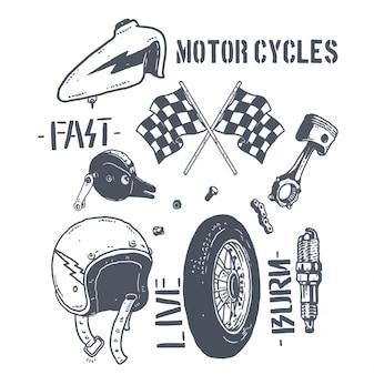 Design de ilustração de pacote de peças de motocicleta