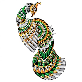 Design de ilustração e camiseta de mandala de pavão zentangle