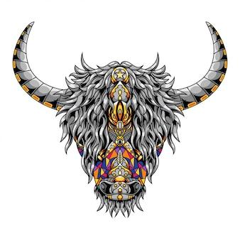 Design de ilustração e camiseta de mandala zentangle de vaca das montanhas