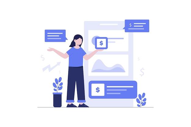 Design de ilustração plana de investimento feminino