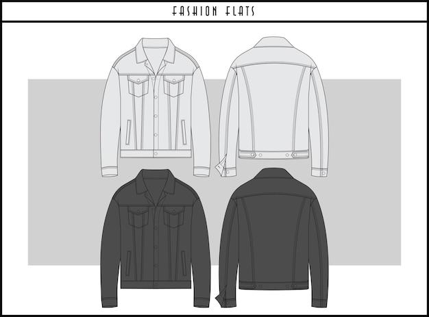 Design de ilustração plana de moda jaqueta jeans