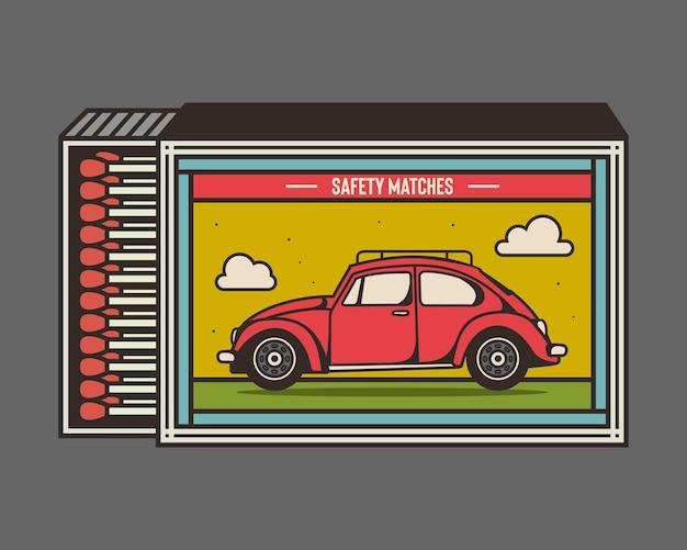 Design de ilustração vetorial de caixa de fósforos e fósforos design de embalagem retrô e exclusivo de caixa de fósforos